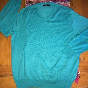 J CREW cotton/5%cashmere blue V-neck sweater
